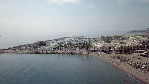 flight with drone over the harbour of Torremolinos benalmadena