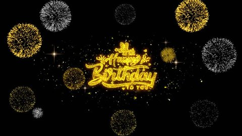 4th Happy Birthday Golden Greeting Text Appearance Blinking Particles With Fireworks Display 4K For