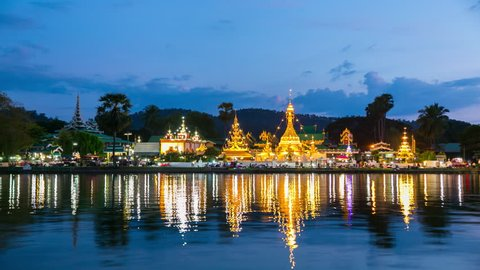 Sunset scence of wat jongklang temple in thailand.