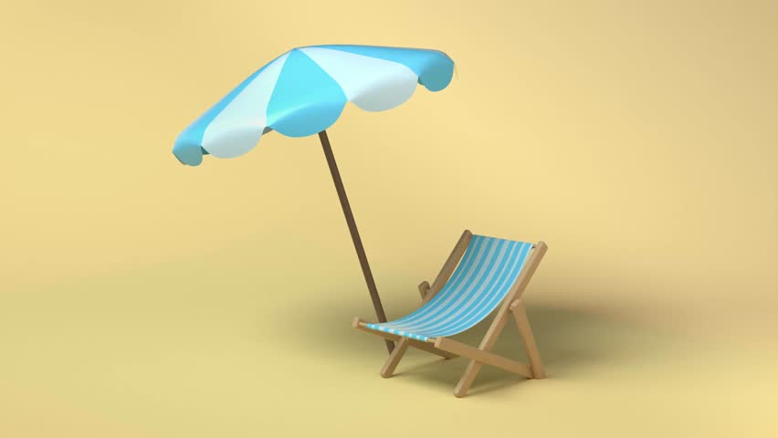 Blue white umbrella beach and chair 3d rendering abstract nature beach sea travel vacation concept | Shutterstock HD Video #1028465072
