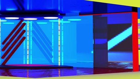 Virtual TV studio with suspended green screen for displaying personalized broadcast material
