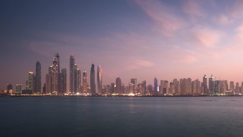 Timelapse of skyscrapers in Dubai Marina, sunset time, UAE | Shutterstock HD Video #1028540222