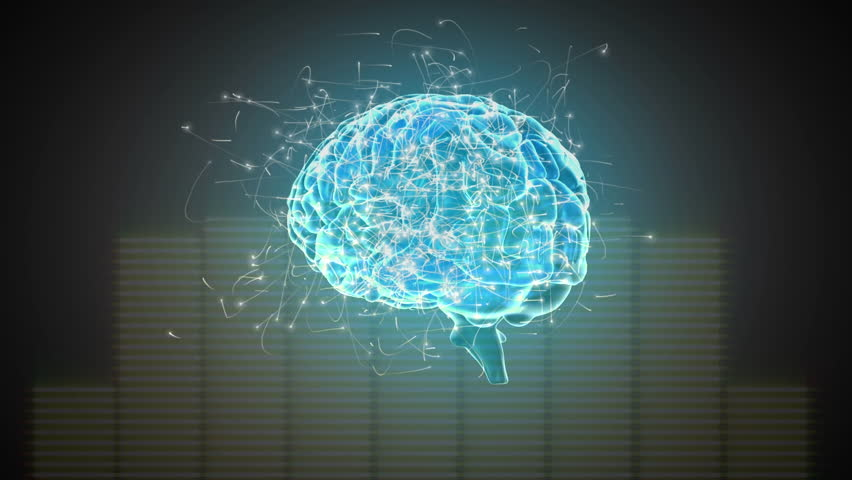 Digital animation of a rotating blue brain with surrounding particles on a pale orange moving frequency bars background | Shutterstock HD Video #1028626742