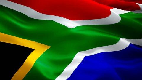 South Africa flag Motion Loop video waving in wind. Realistic South Africa Flag background. South Africa Flag Looping Closeup 1080p Full HD 1920X1080 footage