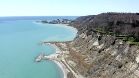4K, Scarborough Bluffs (Toronto, Canada), drone view from East side, early spring.