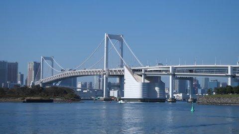 Rainbow bridge as seen from Odaiba waterfront, Tokyo, Japan