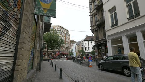 Belgium, Brussels - October, 2016: The crossroad between Rue du Marché au Charbon and Rue du Lombard in Brussels