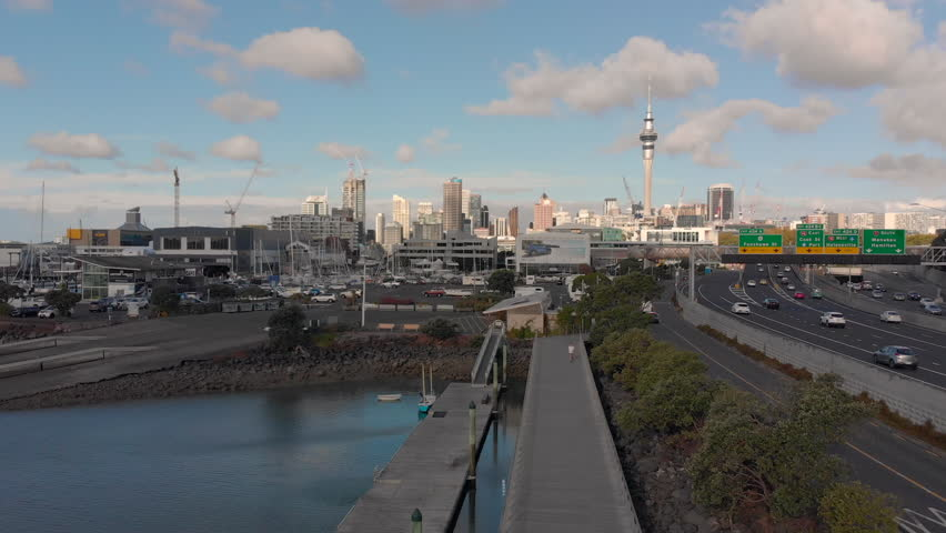 Auckland, New Zealand, April 2019: aerial panoramic footage of Auckland skyline and Harbour | Shutterstock HD Video #1028732222