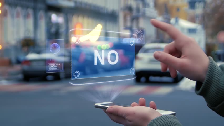 Female hands on the street interact with a HUD hologram with text No. Woman uses the holographic technology of the future in the smartphone screen on the background of the evening city | Shutterstock HD Video #1028759252