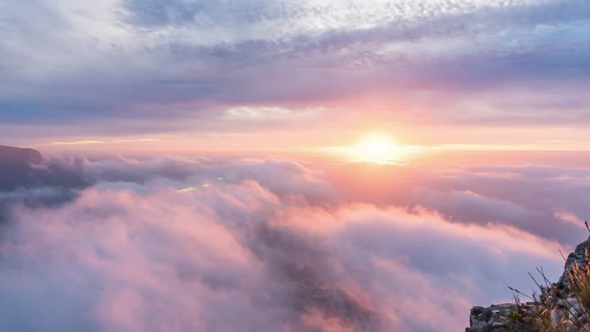 Landscape time lapse of sunset with colorful clouds and beatiful coastline from above on Lions Head in Cape Town South Africa  | Shutterstock HD Video #1028901422