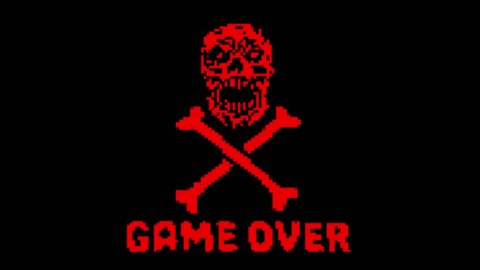 Game over red logo with skull and bones  loop animation in 8 bit effect   genre of horror background