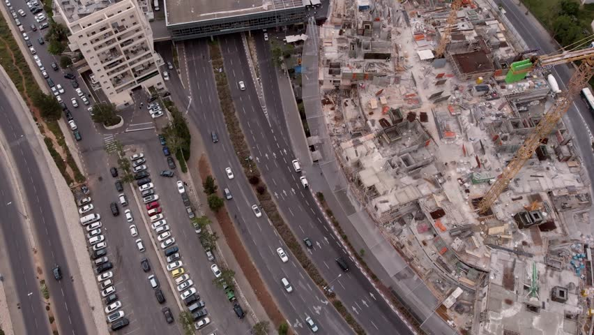Jerusalem traffic landscape and construction site Aerial view Flying over Jerusalem traffic landscape and construction site   | Shutterstock HD Video #1029000062