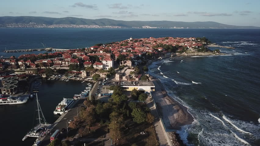 Aerial view of old Nessebar, ancient city on the Black Sea coast of Bulgaria, UNESCO World Heritage, on twilight