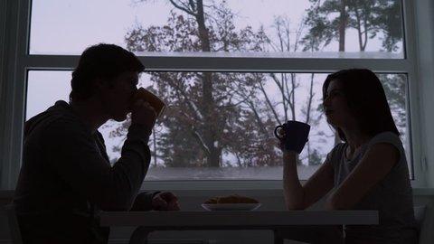 Couple in love enjoy coffee.