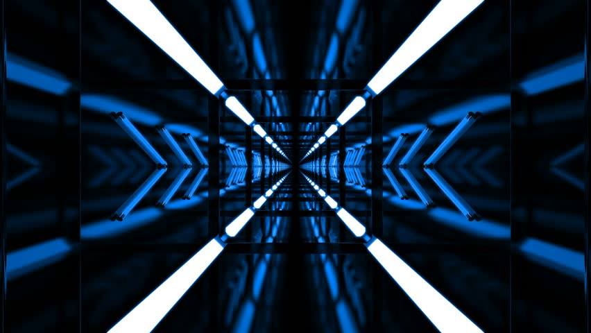 Beautiful Abstract Loop Tunnel with Blue Light Lines Moving Fast #1029122792
