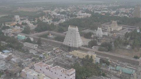 """Kanchipuram, India, """"Varadharaja"""" Tamil temple, 4k aerial drone footage"""
