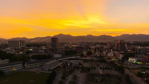 Timelapse Of Ipoh City,Malaysia During Sunset. Dramatic Cloud. 4k. Prores.