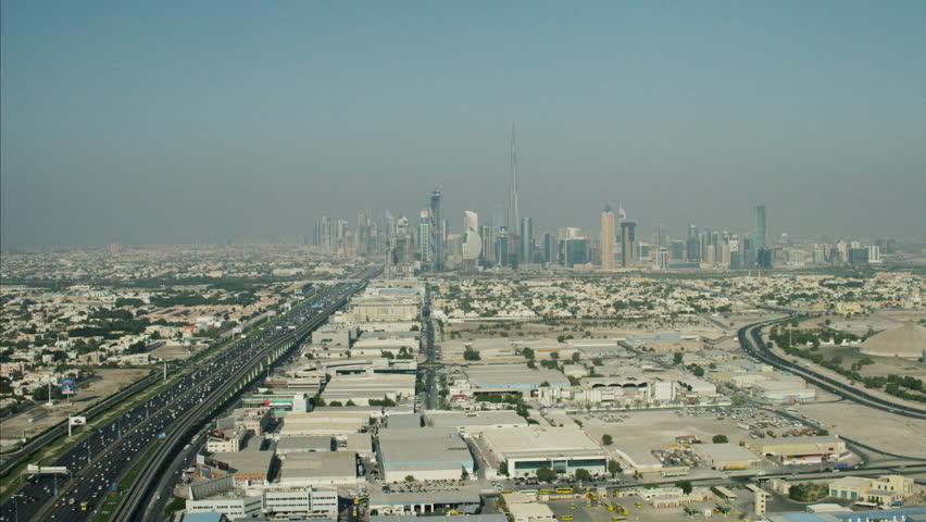Aerial Dubai Burj Khalifa Sheikh Zayed Road Dubai Metro UAE | Shutterstock HD Video #10293242