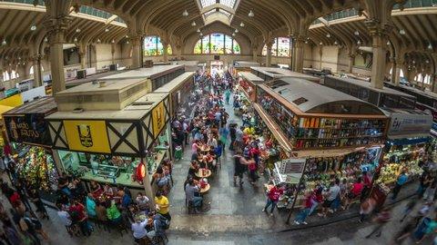 Sao Paulo, Brazil - January 27: Time lapse view of the traditional Municipal Market (Mercado Municipal) aka Mercadao in Sao Paulo, Brazil.