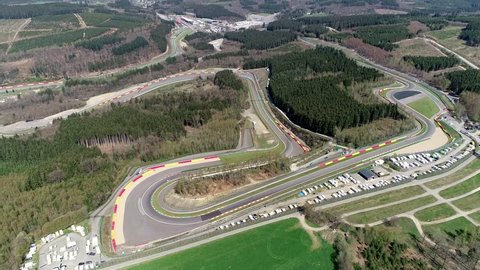 Aerial bird view of Circuit de Spa-Francorchamps is motor racing track located in Stavelot Belgium also referred to as Spa it is the venue of the Formula One Belgian Grand Prix 4k high resolution