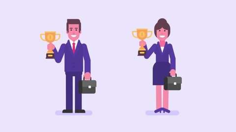 Businessman and businesswoman holds cup first place and smiles. Alpha matte. Loop animation. Motion graphics