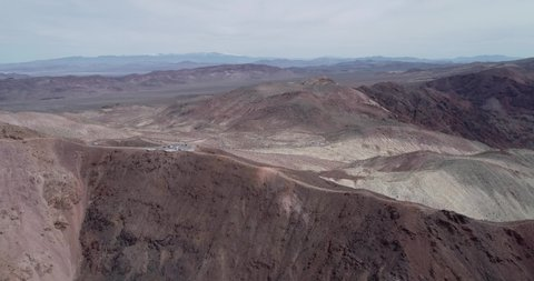 Dante's View Point in Death Valley With Road and Parking Area. Mountain in Background. 4k.