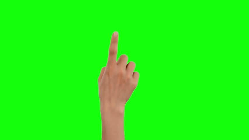Hand touching, clicking, tapping, sliding, dragging and swiping on chroma key green background, like using a smartphone, tablet pc or a touchscreen.  #1029471152