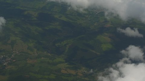 Aerial view of Alto Mayo Protected Forest (Amazon Rainforest in Peru) from an airplane.
