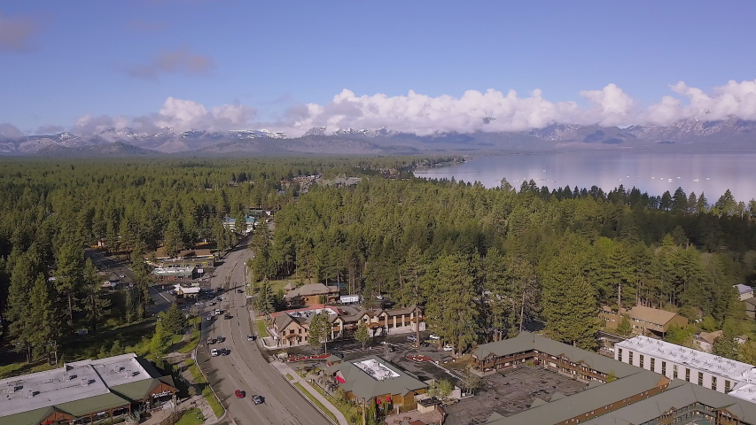 Drone footage of the main road in South Lake Tahoe, California. This footage was captured in the Spring of 2018. 4K