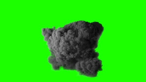 Realistic fireball explosion with huge smoke blast 3D animation. Isolated on green screen VFX action element. Powerful massive gasoline detonation with flame and smoke puff. Alpha channel included. 4K