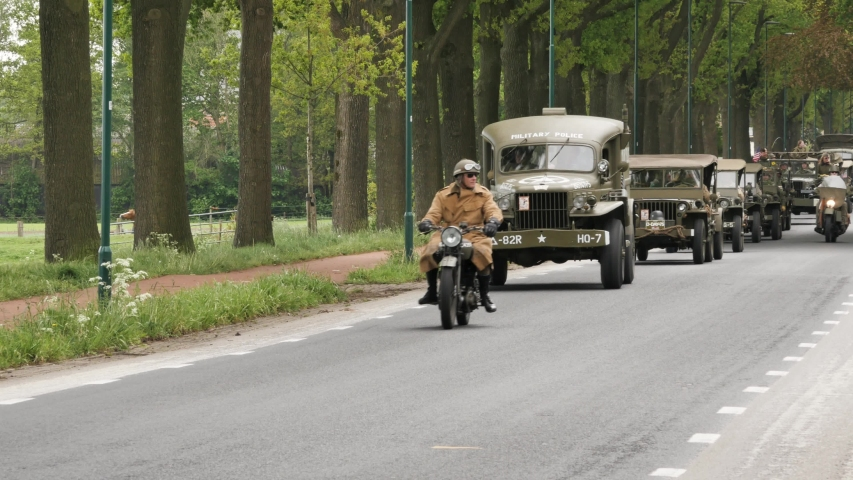 Het Gooi, the Netherlands - may 5, 2019: Convoy parade of military vehicles during liberation day in Holland