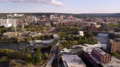 Riverfront Park and Falls in the Downtown Urban Center of Spokane Washington