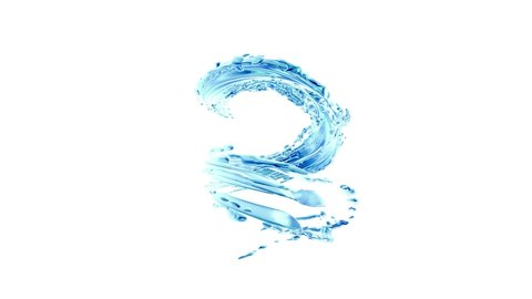 Water wave transparent surface with bubbles of air in 4K on clean white background seamless loop, Water splash in slow motion. Water splash and swirl liquid flowing