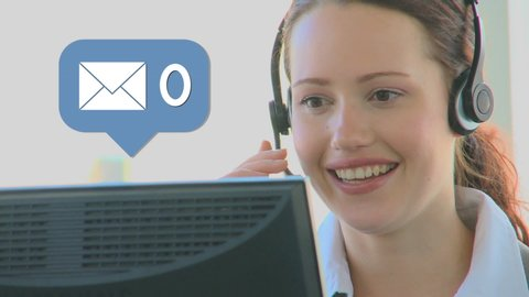 Digital composite of a Caucasian call center representative talking while using at a computer and a message icon with increasing numbers