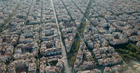 Aerial view of cityscape of Barcelona, Eixample district and Sagrada Familia