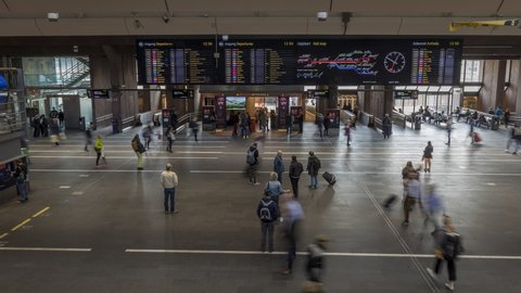 Oslo / Norway - April 24 2019: Time Lapse of the departure hall at Oslo Central Station