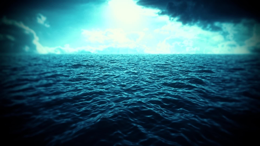 Blue Sea, Sky & Clouds Intro Logo Motion Background | Shutterstock HD Video #1029787712
