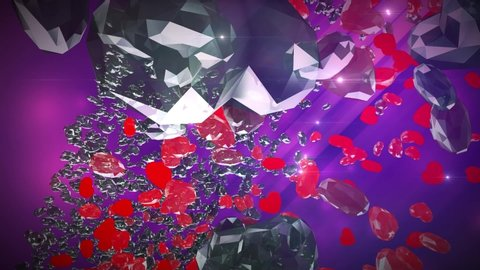 A beautiful animation of diamonds and crystals, both transparent and red, heart-shaped,ing backwards in space. Pink gradient background. Concept: love, valentine, romance, gift.