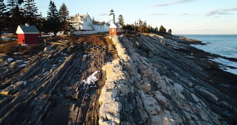 """Zoom In with a 180"""" turn view of the Curtis island lighthouse Camden Maine USA"""