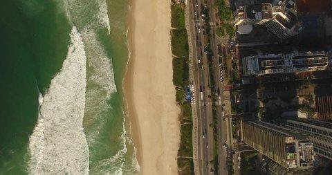 Gods view of Barra da Tijuca Beach, Rio de Janeiro - Brazil. Drone 4K
