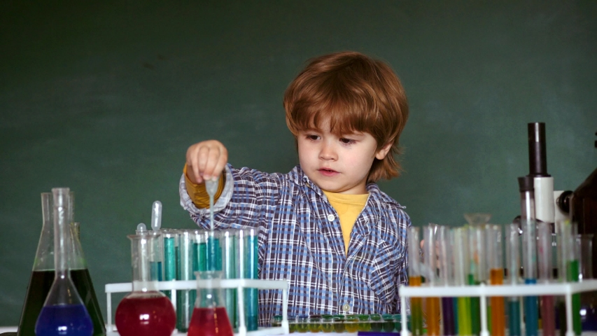 Back to school and happy time Kid is learning in class on background of blackboard. Kid from primary school. Learning at home. Preschooler   Shutterstock HD Video #1030042202