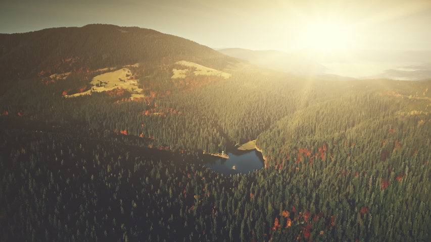 Panoramic Mountain Forestry Slope Dawn Aerial View. Sunrise Highland Lake Wild Nature Habitat Overview.  | Shutterstock HD Video #1030051442