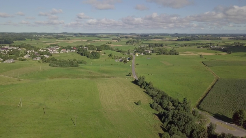 Aerial of Lithuanian countryside and farmlands in Zemaitija National Park. Samogitia (Zemaitija, Zemaiteje) ethnographic region of Lithuania. | Shutterstock HD Video #1030084562