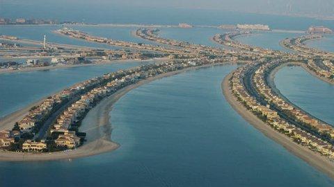 Aerial Dubai Palm Jumeirah Burj Al Arab luxury Homes UAE