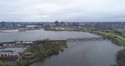 Drone footage over the Prince of Whales Bridge near Ottawa Ontario during the flood.