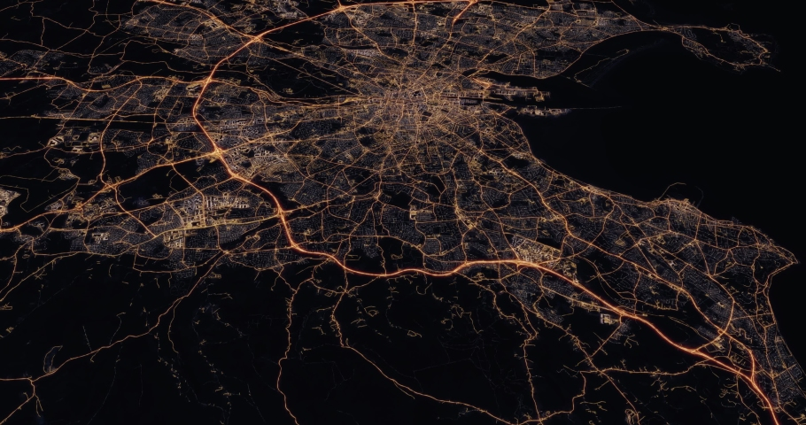 Aerial night view of city of Dublin Ireland. Traffic and street light glowing. Camera flying high above and moving forward and panning down over from space filming cinematic. 3d animation rendering. | Shutterstock HD Video #1030148552