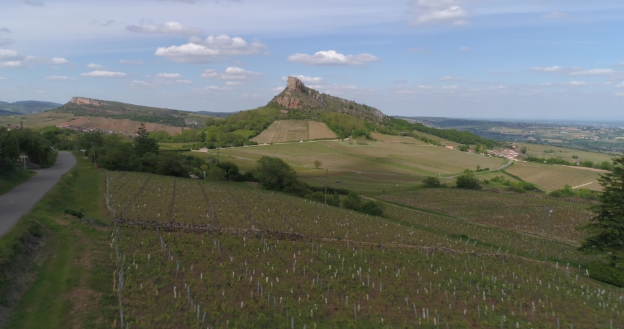 Solutré rock, far traveling, Burgundy, France | Shutterstock HD Video #1030153472