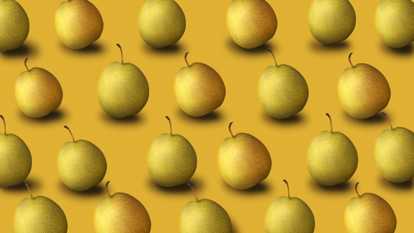 Colorful fruit pattern of fresh yellow pears on yellow background. 4k video.   Shutterstock HD Video #1030217702