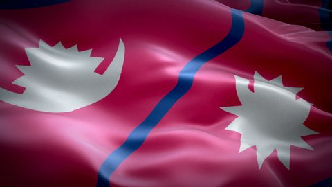 Nepali flag Closeup 1080p Full HD 1920X1080 footage video waving in wind. National Kathmandu 3d Nepali flag waving. Sign of Nepal seamless loop animation. Nepali flag HD resolution Background 1080p