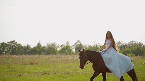 Bride riding a horse. Girl in a white dress on a horse in the field.